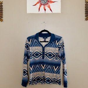 CHAPS blue and tan tribal long sleeve t-shirt